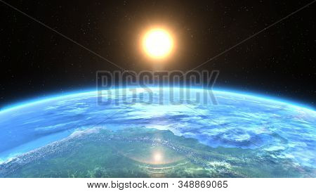 Beautiful Sunrise Over Planet Earth, 3d Illustration