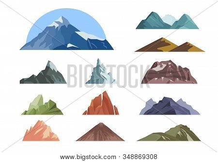 Mountain. Outdoor Landscape With Different Rocks For Climbing Expeditions. Vector Background Mountai