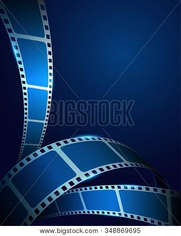 Realistic 3d Film Strip Frame On Blue Cinema Background. Festive Design Cinema Film Template With Pl