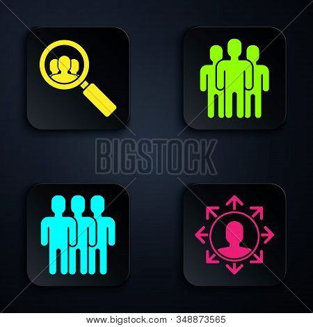 Set Project Team Base, Magnifying Glass For Search A People, Users Group And Users Group. Black Squa