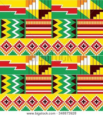 African Tribal Design Kente Nwentoma Textiles Style Vector Seamless Design, Zigazg Geometric Pattern