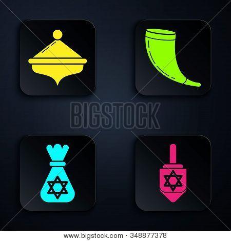 Set Hanukkah Dreidel, Hanukkah Dreidel, Jewish Money Bag With Star Of David And Traditional Ram Horn
