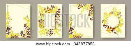 Botanical Herb Twigs, Tree Branches, Leaves Floral Invitation Cards Collection. Plants Borders Natur