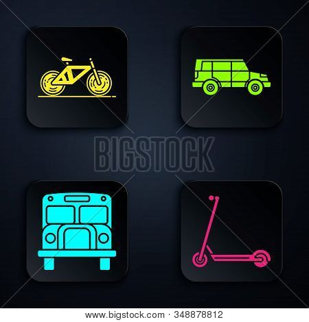 Set Scooter, Bicycle, School Bus And Off Road Car. Black Square Button. Vector