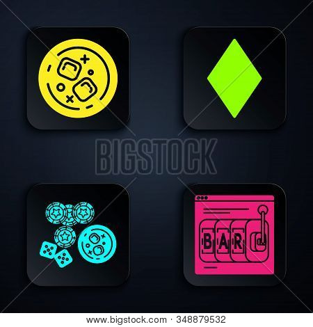 Set Online Slot Machine, Glass Of Whiskey And Ice Cubes, Casino Chips, Game Dice And Glass Of Whiske