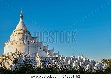 White Pagoda Of Hsinbyume In Myanmar Former Burma Located In Mingun, Mandalay.
