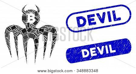 Mosaic Bitcoin Spectre Devil And Distressed Stamp Watermarks With Devil Caption. Mosaic Vector Bitco