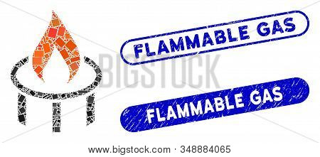 Mosaic Burner Nozzle Flame And Grunge Stamp Seals With Flammable Gas Text. Mosaic Vector Burner Nozz