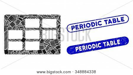 Mosaic Calendar Table And Corroded Stamp Watermarks With Periodic Table Caption. Mosaic Vector Calen