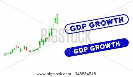 Mosaic Candlestick Chart Growth Acceleration And Corroded Stamp Watermarks With Gdp Growth Caption.
