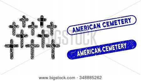 Mosaic Cemetery And Rubber Stamp Seals With American Cemetery Text. Mosaic Vector Cemetery Is Design