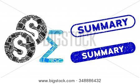 Collage Coin Summary And Rubber Stamp Seals With Summary Caption. Mosaic Vector Coin Summary Is Desi