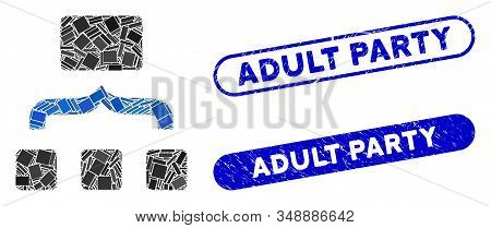 Mosaic Combine Items And Grunge Stamp Seals With Adult Party Phrase. Mosaic Vector Combine Items Is