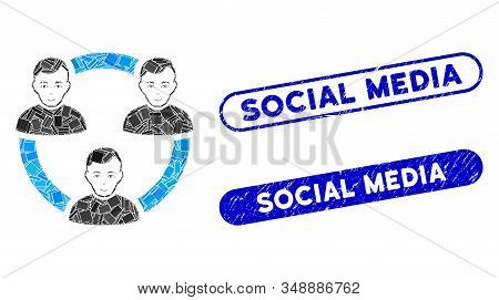 Mosaic Connected Social Members And Grunge Stamp Seals With Social Media Phrase. Mosaic Vector Conne