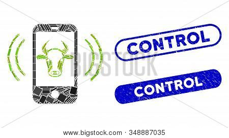 Mosaic Cow Mobile Control And Corroded Stamp Seals With Control Phrase. Mosaic Vector Cow Mobile Con