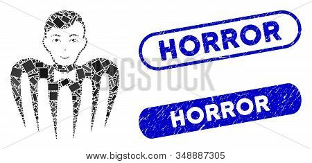 Mosaic Croupier Spectre Monster And Rubber Stamp Seals With Horror Text. Mosaic Vector Croupier Spec