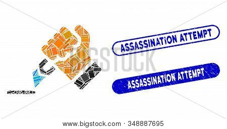 Collage Cutting Hand And Grunge Stamp Seals With Assassination Attempt Text. Mosaic Vector Cutting H