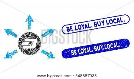 Mosaic Dash Coin Payout Arrows And Rubber Stamp Watermarks With Be Loyal. Buy Local. Text. Mosaic Ve