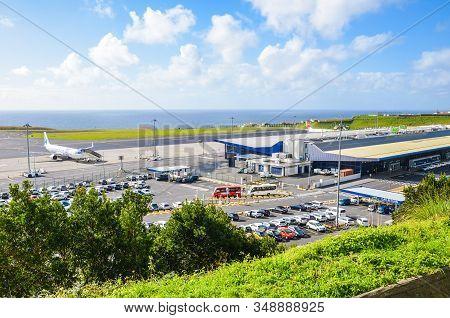 Ponta Delgada, Azores, Portugal - Jan 14, 2020: View Of Joao Paulo Ii Airport In Sao Miguel Island.