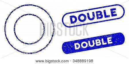 Mosaic Double Round Frame And Rubber Stamp Seals With Double Caption. Mosaic Vector Double Round Fra