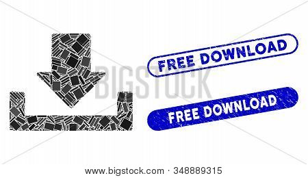 Mosaic Download And Grunge Stamp Seals With Free Download Caption. Mosaic Vector Download Is Formed