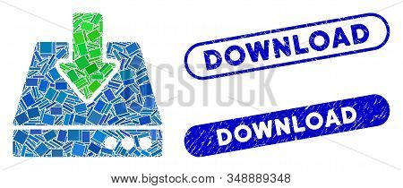 Collage Download And Grunge Stamp Seals With Download Caption. Mosaic Vector Download Is Composed Wi