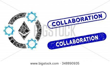 Mosaic Ethereum Pool Collaboration And Corroded Stamp Seals With Collaboration Phrase. Mosaic Vector