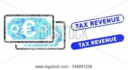 Collage Euro Banknotes And Distressed Stamp Seals With Tax Revenue Phrase. Mosaic Vector Euro Bankno