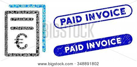 Mosaic Euro Invoices And Corroded Stamp Seals With Paid Invoice Caption. Mosaic Vector Euro Invoices