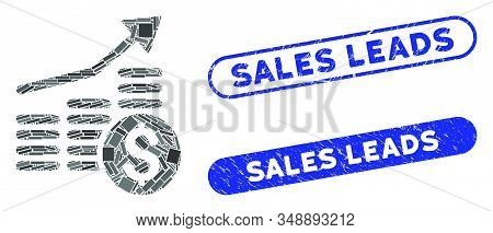 Mosaic Financial Chart And Corroded Stamp Seals With Sales Leads Text. Mosaic Vector Financial Chart