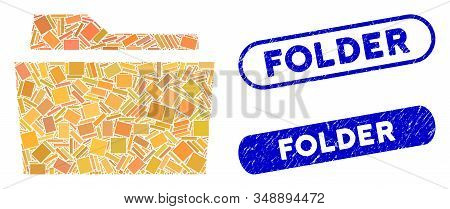 Mosaic Folder And Grunge Stamp Seals With Folder Phrase. Mosaic Vector Folder Is Formed With Randomi