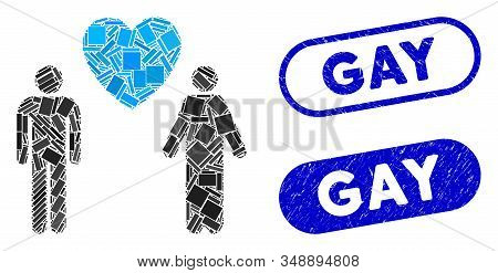 Mosaic Gay Lovers And Grunge Stamp Seals With Gay Phrase. Mosaic Vector Gay Lovers Is Composed With