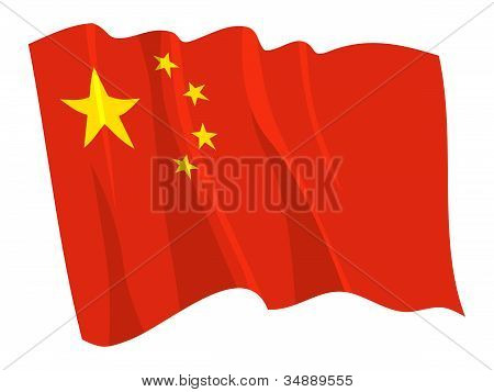Political waving flag of China on white poster