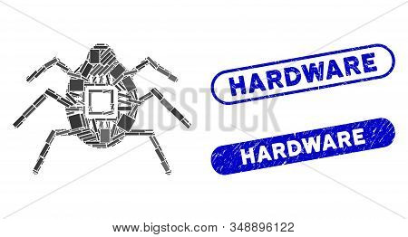 Collage Hardware Bug And Rubber Stamp Seals With Hardware Phrase. Mosaic Vector Hardware Bug Is Desi
