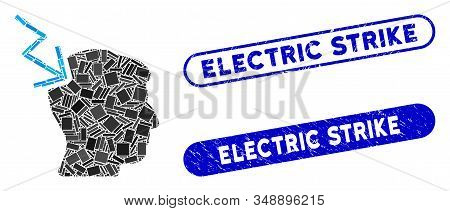 Mosaic Head Electric Strike And Distressed Stamp Seals With Electric Strike Caption. Mosaic Vector H