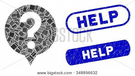Mosaic Help And Rubber Stamp Seals With Help Caption. Mosaic Vector Help Is Designed With Randomized