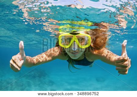 Happy Family - Active Young Woman In Snorkeling Mask Dive Underwater, See Tropical Fishes In Coral R