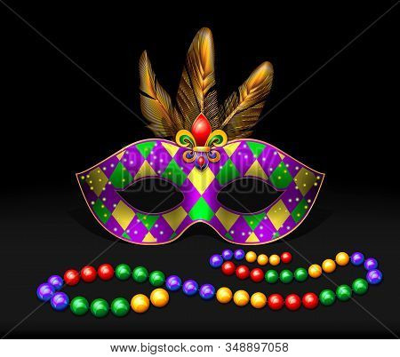 Masquerade Mask, Beads, Multicolored Feathers On A Dark Background. Eps10 Contains Brushes And Style
