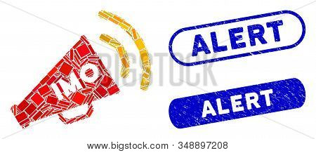 Mosaic Imo Megaphone Alert And Rubber Stamp Watermarks With Alert Text. Mosaic Vector Imo Megaphone