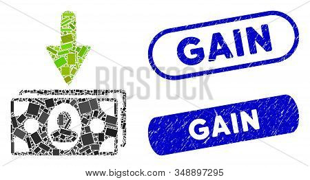 Mosaic Income Banknotes And Rubber Stamp Seals With Gain Phrase. Mosaic Vector Income Banknotes Is C