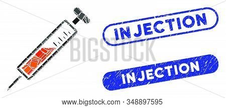 Collage Injection And Rubber Stamp Seals With Injection Phrase. Mosaic Vector Injection Is Designed