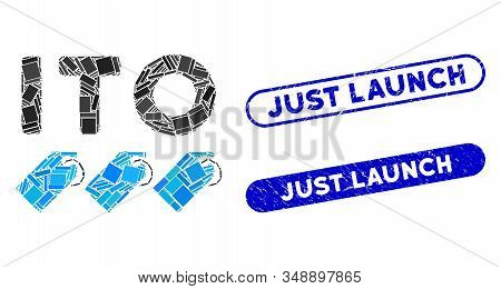 Mosaic Ito Tokens And Distressed Stamp Seals With Just Launch Phrase. Mosaic Vector Ito Tokens Is Cr