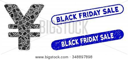Mosaic Japanese Yen And Grunge Stamp Watermarks With Black Friday Sale Text. Mosaic Vector Japanese