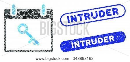 Mosaic Key Calendar Day And Corroded Stamp Seals With Intruder Phrase. Mosaic Vector Key Calendar Da
