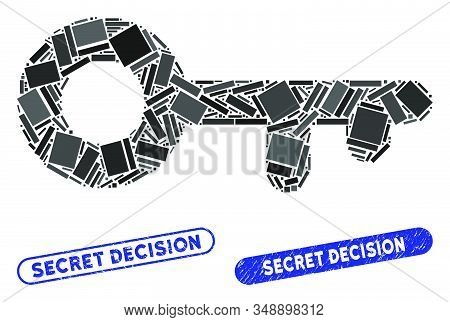 Mosaic Key And Corroded Stamp Seals With Secret Decision Caption. Mosaic Vector Key Is Formed With R