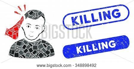 Mosaic Kickboxer And Corroded Stamp Seals With Killing Caption. Mosaic Vector Kickboxer Is Designed