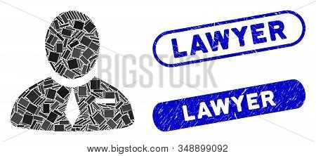 Mosaic Lawyer And Distressed Stamp Seals With Lawyer Text. Mosaic Vector Lawyer Is Composed With Ran