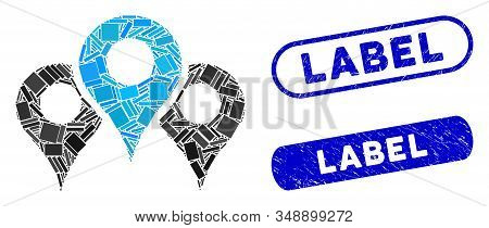 Mosaic Locations And Rubber Stamp Seals With Label Caption. Mosaic Vector Locations Is Formed With S