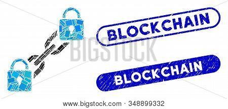 Collage Lock Blockchain And Grunge Stamp Seals With Blockchain Phrase. Mosaic Vector Lock Blockchain