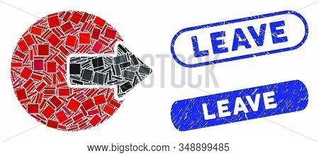Mosaic Logout And Corroded Stamp Seals With Leave Caption. Mosaic Vector Logout Is Designed With Ran